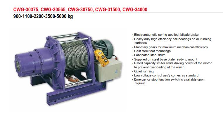 Tời Cáp Điện COMEUP Đài Loan Loại 900-1100-2200-3500-5000KG CWG-30375, CWG-30565, CWG-30750, CWG-31500, CWG-34000