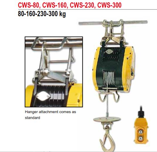 Tời Cáp Điện Mini COMEUP Đài Loan Loại 80-160-230-300KG CWS-80, CWS-160, CWS-230, CWS-300