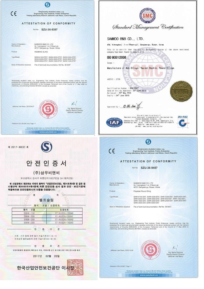 các chứng chỉ quốc tế của hãng Samwoo Hàn Quốc