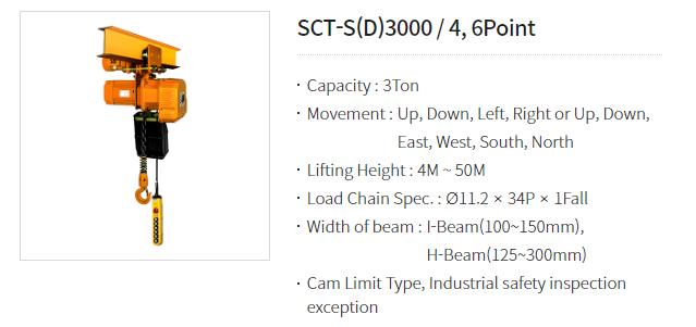 Palang Xích Điện Chạy Trên Dầm SamSung Loại 3000KG SCT-S(D)3000