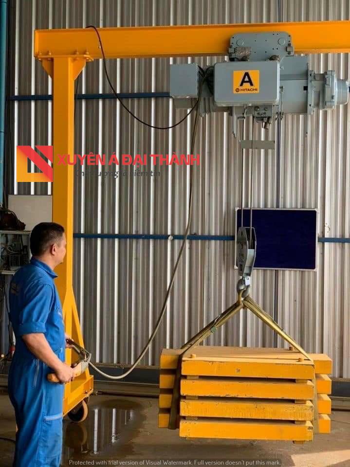 palang cáp được vận hành tại công trường